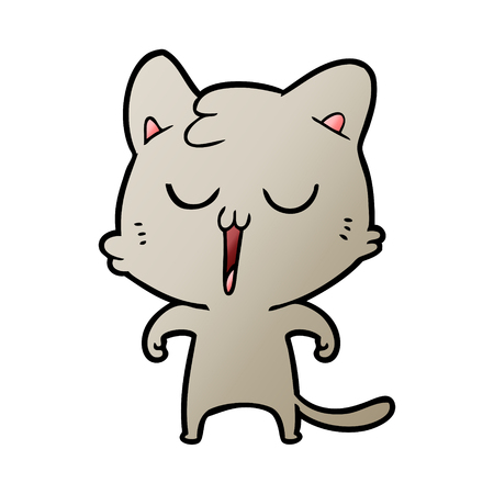 cartoon cat singing Çizim