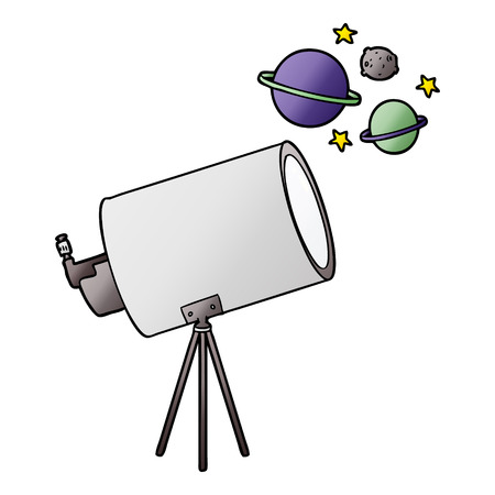 cartoon telescope looking at planets Reklamní fotografie - 95211260