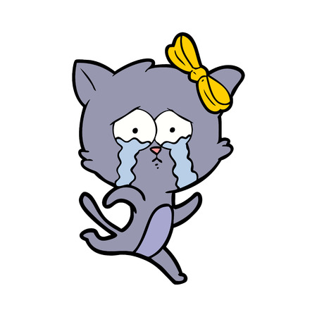 cartoon crying cat with yellow ribbon