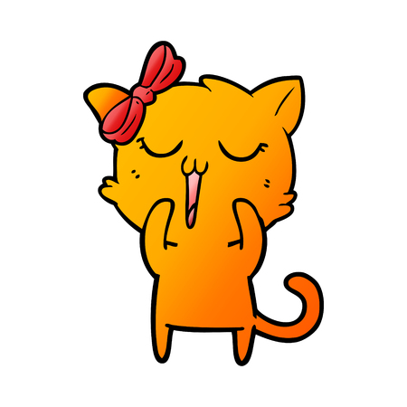 cartoon shouting orange cat 向量圖像
