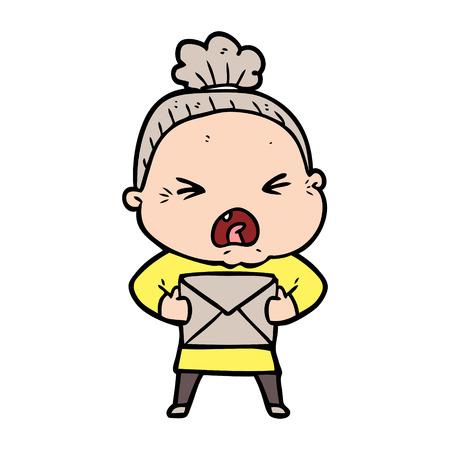cartoon angry old woman