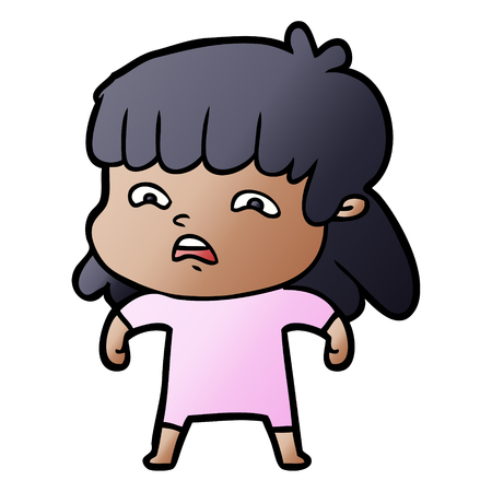 cartoon worried woman 向量圖像