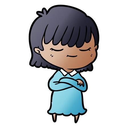 cartoon woman in blue dress