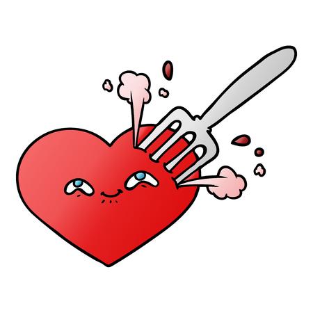 cartoon love heart stuck with fork Banco de Imagens - 95224722