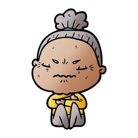 cartoon annoyed old lady