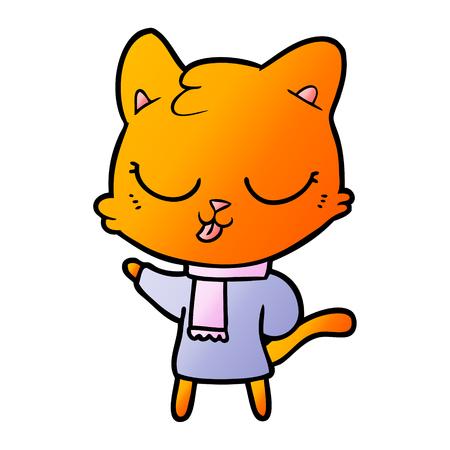 ピンクのスカーフと漫画の猫  イラスト・ベクター素材