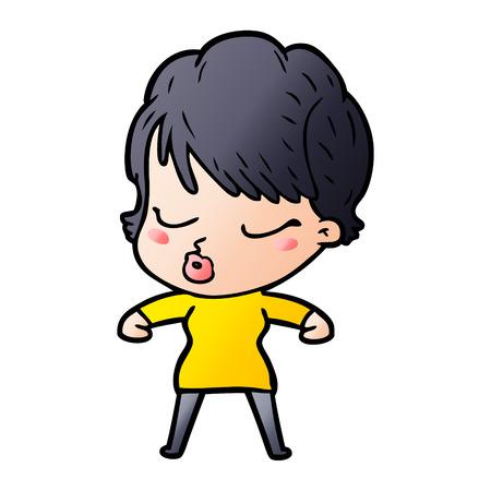 cartoon woman with eyes shut  イラスト・ベクター素材
