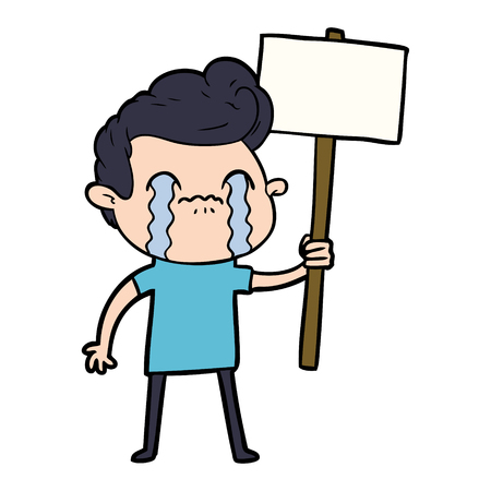 cartoon man crying holding sign