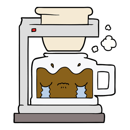 cartoon crying filter coffee machine