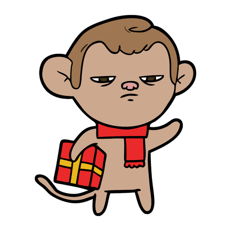 cartoon monkey with red scarf and red gift