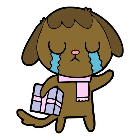 cute cartoon dog crying