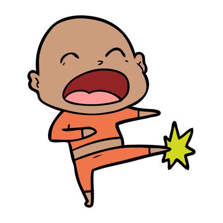 Cartoon bald man kicking