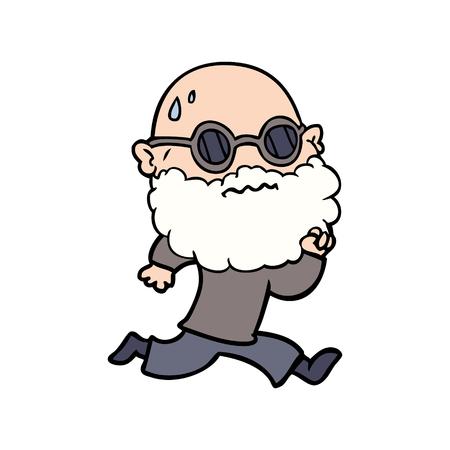 cartoon running man with beard and sunglasses sweating Illustration