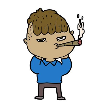 cartoon man smoking Archivio Fotografico - 95186058