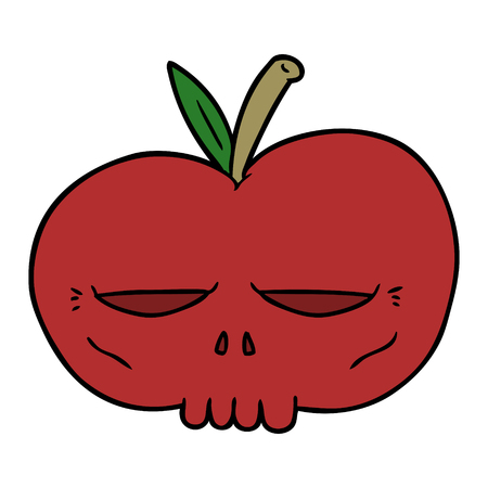 cartoon spooky skull apple