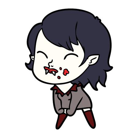 Fille vampire de bande dessinée avec le sang sur la joue Banque d'images - 95185999