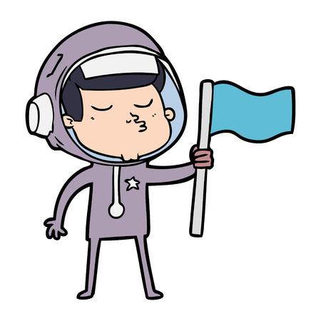 Cartoon astronaute confiant agitant le drapeau Banque d'images - 95186403