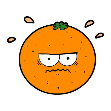 cartoon angry orange Vector illustration. Illustration