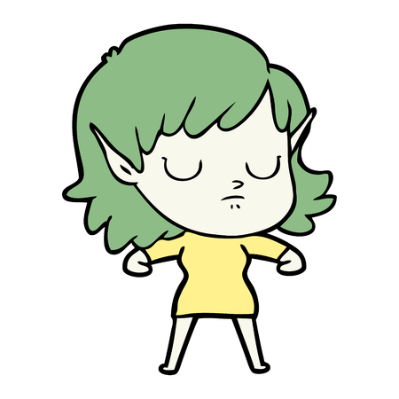 cartoon elf girl Vector illustration. Illustration