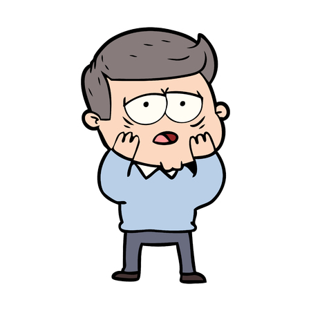 Cartoon tired man Illustration