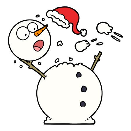 snowman in snowball fight Zdjęcie Seryjne - 95187808