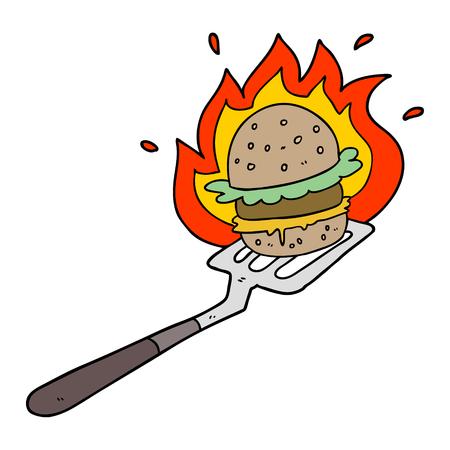 A cartoon flaming burger on spatula Illusztráció