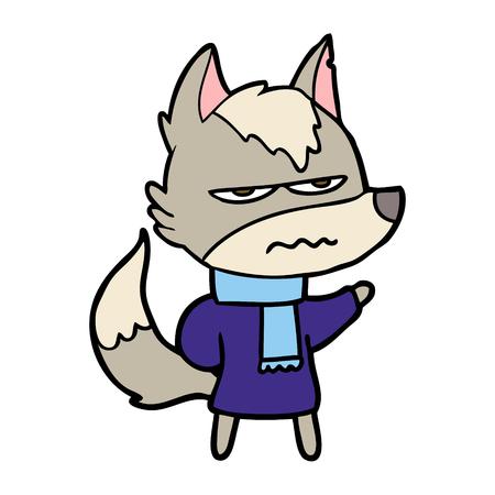 A cartoon annoyed wolf