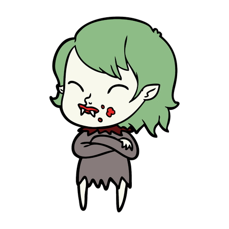A cartoon vampire girl with blood on cheek