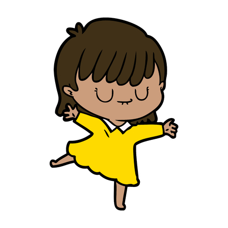 A vector cartoon illustration of  a dancing woman with two arms wide open, isolated on white Çizim