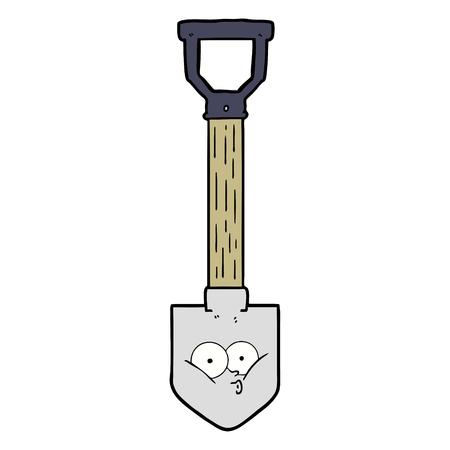 A cartoon shovel with face Illusztráció