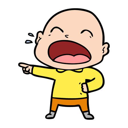 A cartoon shouting bald man Foto de archivo - 95232521