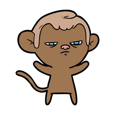 A cartoon annoyed monkey