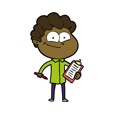 A cartoon happy man with clipboard
