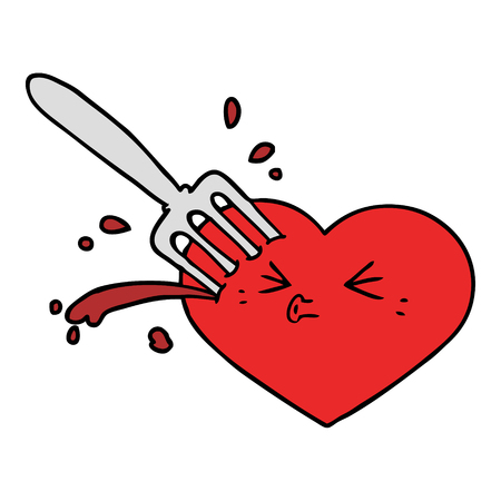 cartoon love heart stuck with fork