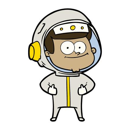 Happy astronaut cartoon isolated on white background