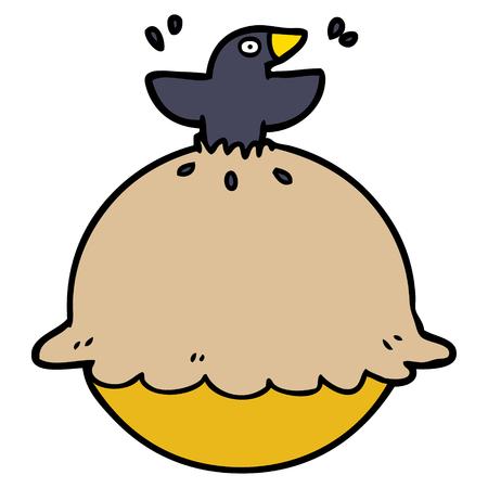 Cartoon Amsel in einem Kuchen Standard-Bild - 95203525