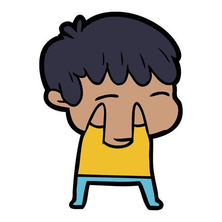 만화 호기심 소년 벡터 일러스트 레이 션. 일러스트