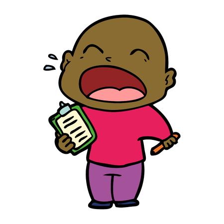 Cartoon shouting bald man Ilustração