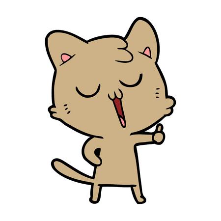 cartoon cat singing Vector illustration.