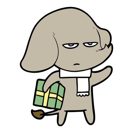 annoyed cartoon elephant Vector illustration.