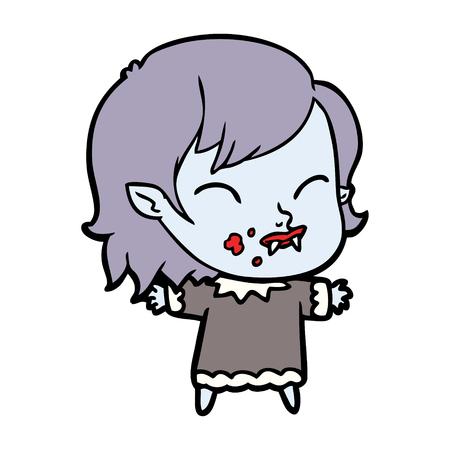 cartoon vampire girl with blood on cheek Banco de Imagens - 95204335