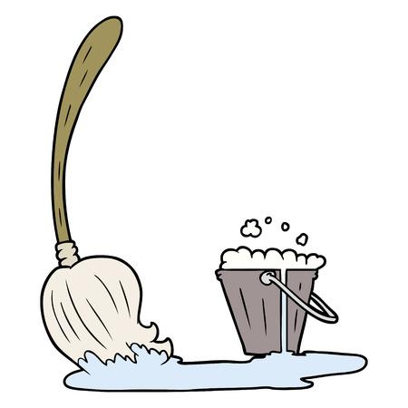 Hand drawn cartoon mop and bucket Çizim