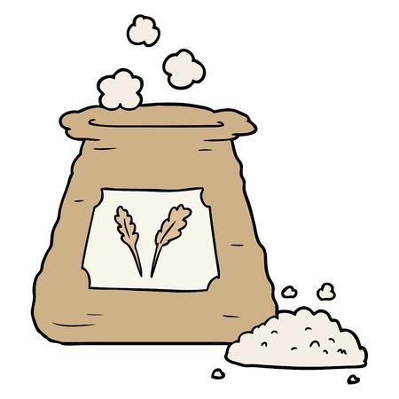 Hand drawn cartoon bag of flour Illustration