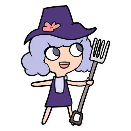 cartoon farmer girl with fork