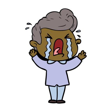 cartoon crying man Vector illustration. Foto de archivo - 95209715