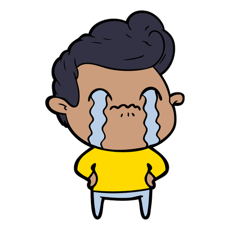 Hand drawn cartoon man crying  イラスト・ベクター素材