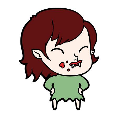 Hand drawn cartoon vampire girl with blood on cheek Banco de Imagens - 95249562