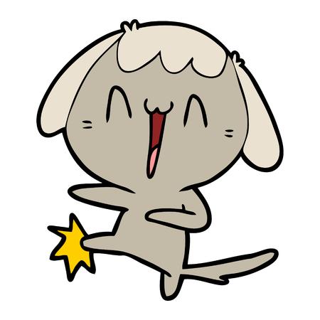 cartoon laughing dog kicking Çizim