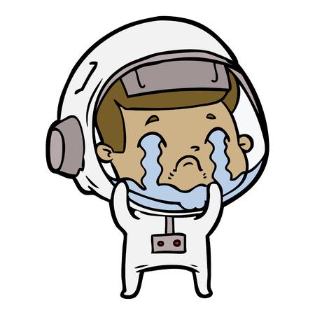 cartoon crying astronaut Vector illustration.