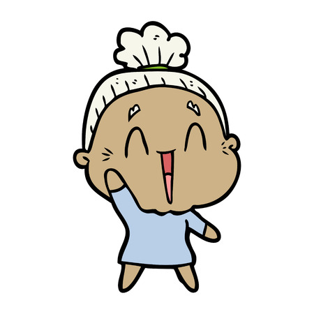 cartoon happy old lady